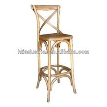 Birch wood Cross back chair with Antique Rattan weaving seat for bar shop