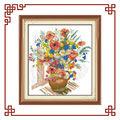 nkf colorida flor vaso de flor bordado ponto cruz