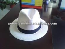 white straw panama fedora hat with balck ribbon band