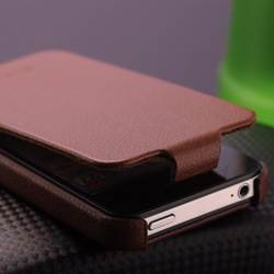 High Quality Genuine Leather Flip Case for Iphone 4/4s