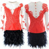 Scoop Neckline Long Sleeve Appliqued Lace Red Feather Cocktail Dress