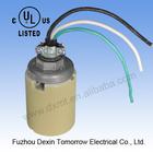 "MT1800(yellow glazed with three wires+1/2"" cap and wire tightener)UL+CUL edison screw E39 ceramic lamp base"