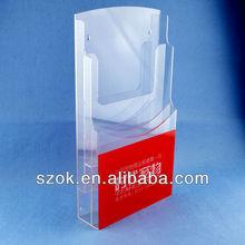 wall mount acrylic brochure holder/acrylic brochure display/acrylic books stand