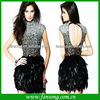 2014 New Fashion High Neck Black Beaded Feather Cocktail Dress