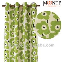 2014 Latest Polyester Silk Printing Turkish floral Window Curtain Designs
