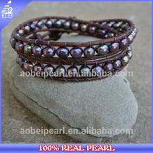 BR-00074 2014 latest freshwater pearl jewelry design leather watch bracelet