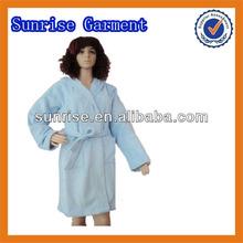 100% polyester blue polar fleece bathrobe