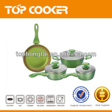 7pcs green color nonstick aluminum cookware with induction bottom