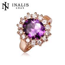 Lekani Shiny Gold Tone Diamond And Amethyst Ring
