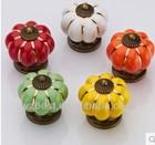 Europe Ceramic Door Pumpkin Knobs Yellow Cabinet Drawer Kitchen Cupboard pull Handles2012