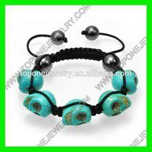 2015 turquoise skull shamballa beads bracelet
