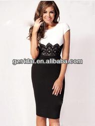 Short sleeves lace ladies sexy elegant bandage dress