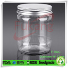 700ml wide-mouth transparent plastic candy round bottle wholesale price,bulk 24 oz PET clear food jar with hermetic aluminum lid