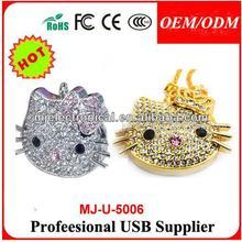 Cute Jewelry Metal Kitty USB Flash Drive Logo, Crystal Necklace Cat Usb Pen Drive Mini