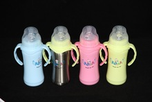 stainless steel baby bottle,baby feeding bottle,double wall feeding bottle
