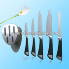 5pcs kitchen knife set,stainless steel handle with soft grip , stainlees steel block