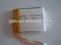lithium battery 703443 3.7v950mAh polymer li ion battery