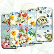 color printing pink flower design case for iPhone 5