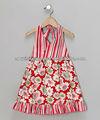 Personnalisée gros floral motif marguerite rouge Halter robe - bébé et filles
