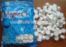 100%rayon mini coin compressed Tablet tissue/coin magic mini tissue