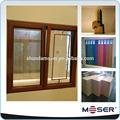 doble acristalamiento en la parrilla de diseño de aluminio de la ventana de madera en roble blanco perfil