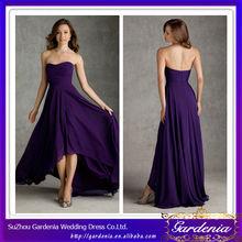 Best Selling A-line Sweetheart Neckline Front Short Long Back Purple Chiffon Bridesmaid Dress Patterns 2014 (ZX089)