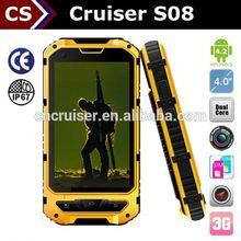 Cheap Rugged NFC Phone Cruiser S08 Android 4.2 Dual Core GPS GSM 3G 2013 dual sim watch phone waterproof