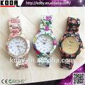 el último relojes de ginebra colores diseño personalizado de impresión de la flor reloj reloj de damas al por mayor de china