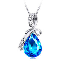 Wholesale 2014 fashionable blue gemstone design water drop silver pendant