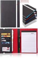 A5 size PU leather portfolio folder with metal strap
