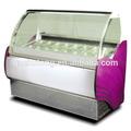 stile europeo rosso acciaio inossidabile curvato vetro usato ice cream freezer visualizzare