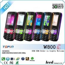 1.77inch Whatsapp dual sim SC6531 Torch Quadband 1200mAh big battery mobile phone TOPIN W800 bar Telefono movil