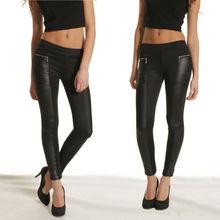 nova moda feminina legging elástico da cintura elástico skinny de couro olhar painéis calças calças g0541