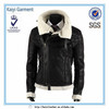 alibaba hot selling vintage winter men leather jacket with fur collar