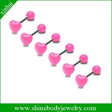 fashion tongue piercing body jewelry hot pink tongue ring