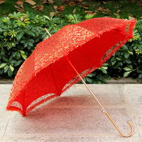 BRANDED munufacturer offer custom red decoration lace indian wedding umbrella
