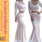 Two piece white floor lenght wholesale plus size maxi dress 3XL