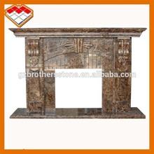 Turkey dark emperador freestanding indoor marble fireplace