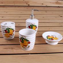 Fashion Decal 4pcs lemon design ceramic bathroom accessories