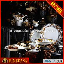 47 Pieces Luxury Fine Bone China Royal Porcelain Dinner Set of Knight