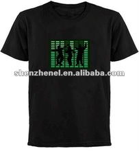 Hot selling! fashion and sound active el glow music t-shirt!