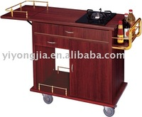 Wooden Flambe Cart/cooking trolley in hotel/cooking trolley