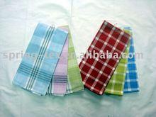 Plain weave 100% cotton tea towel with plaid style