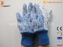 Garden cotton glove band cuff PVC dots on palm safety working gloves