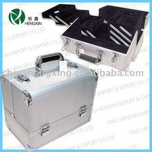 Aluminum hard beauty case double open silver makeup case top-quality makeup kit HX-L1081-0