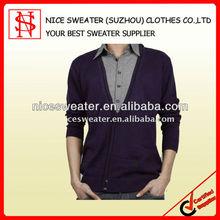 long sleeve 100% cotton cardigan man sweater
