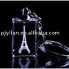 crystal Christmas gift clear 3d crystal photo keychain ,