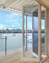 Aluminium frame bi-fold safety door,safety door design in metal