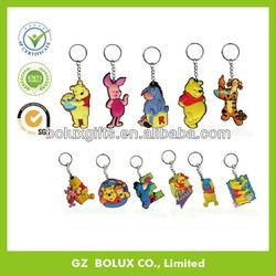 Custom advertising business gifts OEM lovely popuar cartoon shape Soft pvc rubber plastic key chain