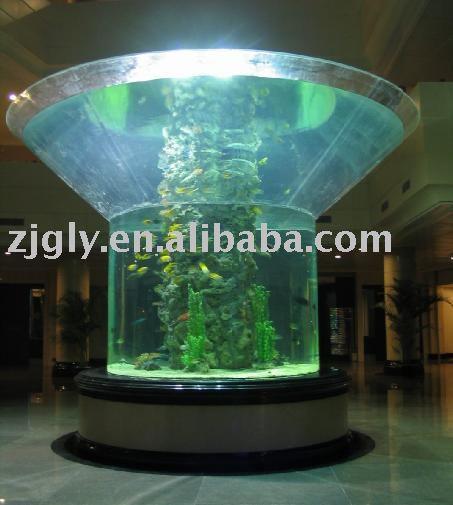 Large cylindrical aquarium view cylindrical aquarium for Cylindrical fish tank